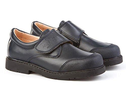 Zapatos Colegiales con Puntera Reforzada Todo Piel, Mod.452. Calzado Infantil (Talla 34 - Azul Marino) - AngelitoS