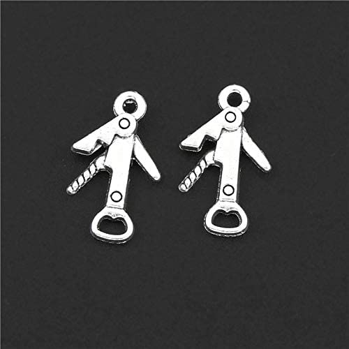 DIY042627 Handmade Charms 30Pcs Silver Color Bottle Opener Charms Wine Corkscrew Pendant Jewelry product image