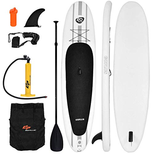Goplus Inflatable 11' StandUp Paddle Board Package w/ Leash Fin Adjustable Paddle Pump Kit Carry Backpack, 6' Thick