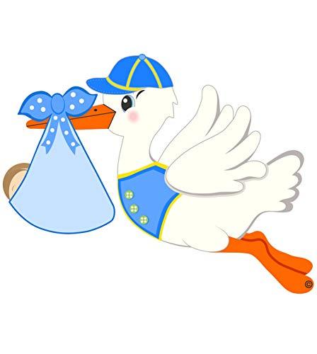 Cute News It's a Boy Stork Announcement Door Hanger - Nursery Room Art Decoration - Blue - Indoor or Outdoor Baby Sign Decoration