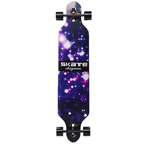 QINGJIA Skateboards, 41-Zoll-Longboards Skateboards for Kinder, 7-schichtige Naturahornholz Boards Freeride Longboard Komplett Cruiser (Tropfen-Through Deck - Camber Concave) Max Last 440 Pfund Fachma