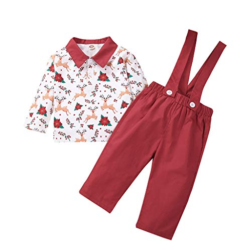 Baby Brother and Sister Matching Outfits Set Christmas Clothes Sets Baby Toddler Kids Xmas Costume Reindeer Print Bowknot Shirt Suspender Shorts Suspender Skirt Newborn Festival Suit