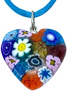 Colgante de Cristal de Murano con Forma de corazón de Cristal de Murano, Incluye Caja de Regalo y Certificado de autenticidad