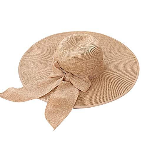 miss-an Womens Beach Sun Strohhut, breiter Krempe Sonnenhut, Reisen Faltbare Krempe Sommer UV-Hut