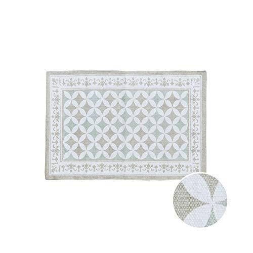 BUTLERS Silent Dancer Teppich Kachelmuster 60x90cm in Taupe - Flachgewebe Teppich - Moderner Wohnzimmerteppich klein
