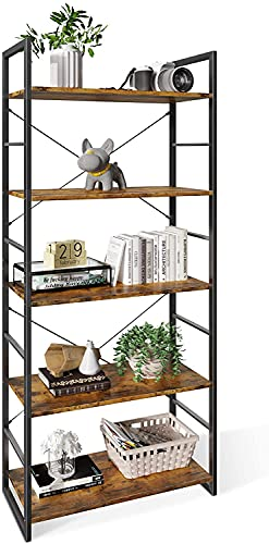 ODK Bookshelf, 5 Tier Tall Bookcase Shelf, Free Standing Units, Modern Book Shelf for Bedroom, Living Room and Home Office, Rustic Brown
