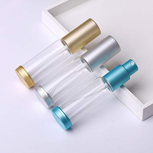 OPXZPM Taza de Agua Atomizador de Aluminio Botellas de Perfume de Vidrio Transparente Atomizador en Aerosol vacío Botella Recargable, Plata Brillante, 30 ml