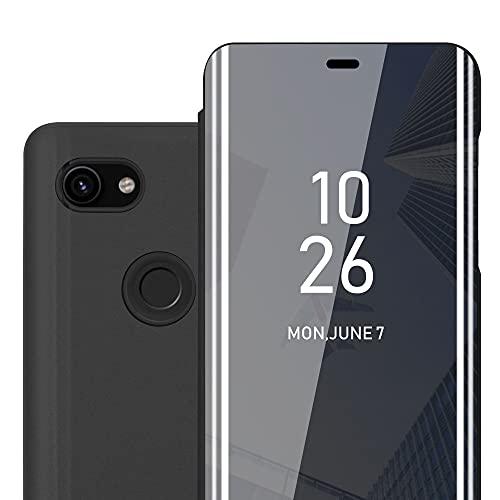 Cadorabo Hülle kompatibel mit Google Pixel 3A XL in TURMALIN SCHWARZ - Clear View Spiegel Schutzhülle - Ultra Slim Hülle Cover Etui Tasche mit Standfunktion 360 Grad Schutz Book Klapp Style