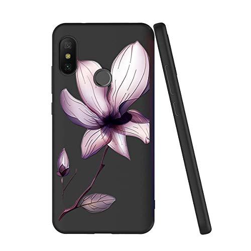 Yoedge Capa para Xiaomi Mi A2 Lite, capa fina macia de gel de silicone TPU à prova de choque luxuosa estampa floral 3D relevo capa traseira bumper para Xiaomi Mi A2 Lite (Lotus Leaf)