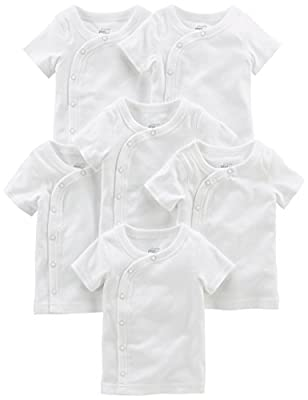 Simple Joys by Carter's Baby 6-Pack Side-Snap Short-Sleeve Shirt, White, 0-3 Months