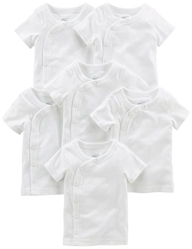 Simple Joys by Carter's Baby 6-Pack Side-Snap Short-Sleeve Shirt, White, Preemie