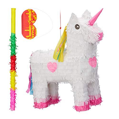 Relaxdays 3 TLG. Pinata Set Einhorn, mit Pinata Stab und Maske, Mädchen, Geburtstag, Unicorn Piñata zum selbst Befüllen, weiß-rosa