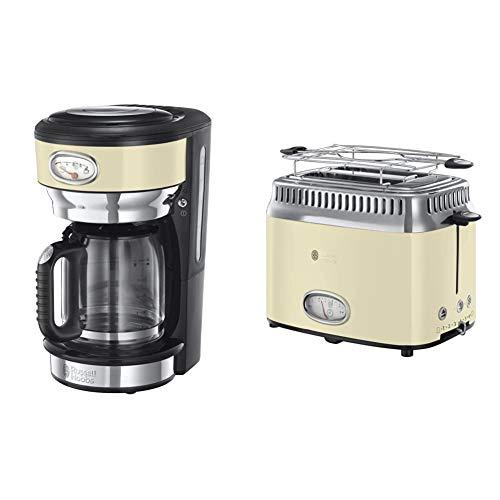 Russell Hobbs Retro 21702-56 Macchina da Caffè, 1000 Watt, 1.25 Litri, Acciaio Inossidabile, Crema & Retro Collection Tostapane, 1300 W, Acciaio Inossidabile, 2 Scomparti, Crema