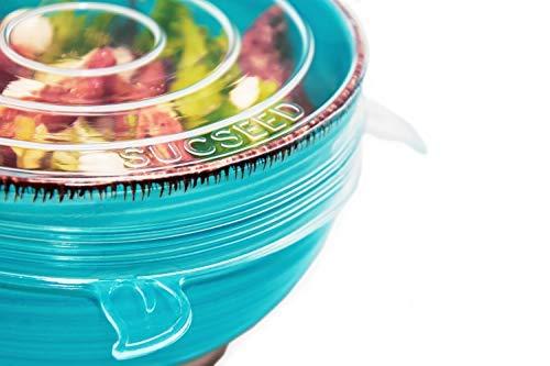 Sucseed Dehnbare Premium Silikondeckel für Schüsseln, Töpfe, Gläser, Dosen, Joghurt-Becher, 6 teilige runde nachhaltige Stretch Deckel, BPA Free Wiederverwendbare Frische-Abdeckung, universal
