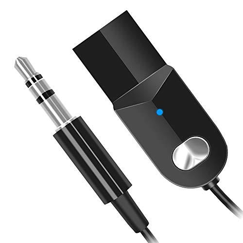 Adaptador Bluetooth Coche Adaptador Bluetooth 3.5mm AUX y USB Receptor Bluetooth 5.0,Reducción de Ruido Incorporada Calidad de Sonido HiFi