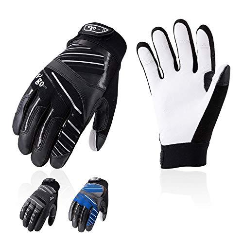 Vgo 3 Paare Herrenhandschuhe aus Ziegenleder für leichte Arbeiten, Touchscreen-kompatibel, Klettverschluss (Größe XL, 3 Farben, GA9699)