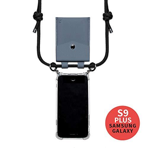 phonecover lover für Samsung Galaxy S9 Plus - Handy-Kette für Smartphones mit Tasche als Kartenetui f. Kleingeld - Stabile Handyhülle zum Umhängen für Samsung - Smartphone Necklace (graue Tasche)