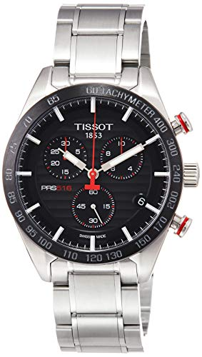 Tissot PRS 516 Quartz Chronograph / orologio uomo / quadrante cote de Geneve nero / cassa e bracciale acciaio