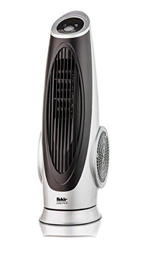 Fakir TVL 90 prestige / Turmventilator mit Fernbedienung, oszillierend, 3 Geschwindigkeitsstufen, Ventilator mit Timer, sehr  leistungsstark, LED-Display –  90 Watt