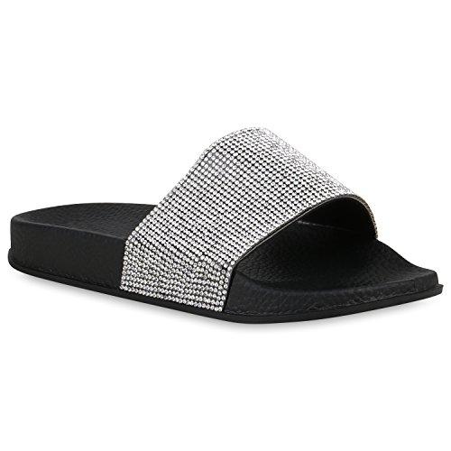 stiefelparadies Damen Schuhe Sandaletten Pantoletten Badelatschen Strass Hausschuhe 158048 Schwarz 36 Flandell