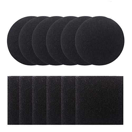 Lowest Prices! Dlazm 1 Bin, 12 Pieces Compost Pail Replacement Filters 6 Round and 6 Square (Black),...