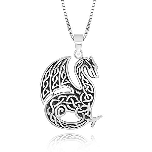 925 Sterling Silver Celtic Dragon Pendant Necklace, 18'