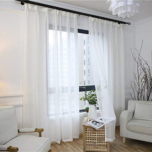 YSA Cortinas Transparentes de algodón y Lino Liso Simple Estilo Blanc