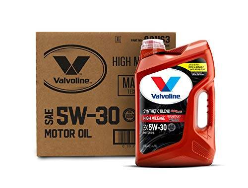 Valvoline High Mileage with MaxLife Technology SAE 5W-30 Synthetic Blend Motor Oil 5 QT, Case of 3