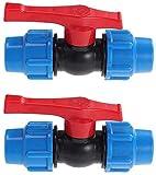 MACHSWON - Conector de válvula de tope de 25 mm para tuberías de agua HDPE (2 unidades)