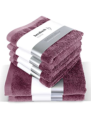 herzbach home Juego de 4 toallas de mano de 50 x 100 cm, 2 toallas de ducha de 70 x 140 cm, 100% algodón (malva)