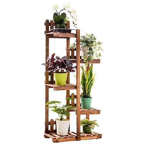 TongN Présentoir à plantes en bois à 6 niveaux Présentoir à plusieurs niveaux pour balcon Salon 21.7x10.6x48.8in brun foncé