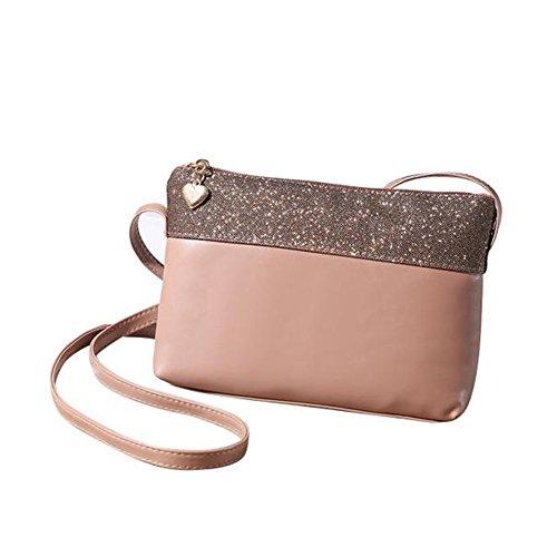 Longra Donne rivestono di pelle a tracolla della borsa Satchel Purse (Cachi)
