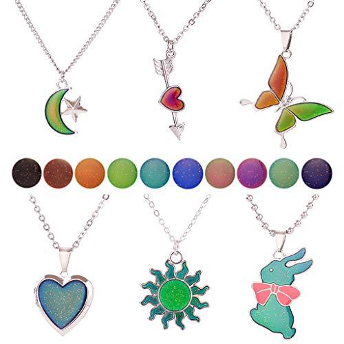 N/A. Collar con colgante de 6 estilos, diseño de mariposa, corazón, conejo, sol, luna, cambio de color con temperatura y sensación de emoción, regalo para ella