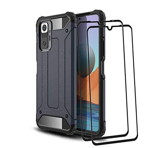 KERUN Funda para Carcasa Telefono Xiaomi Redmi Note 10 Pro + 2 Cristal Templado, Estuche Protectora Ultrafina Híbrida de Doble Capa [TPU + PC], Duradera Resistente Cubierta Protectora. Azul Marino