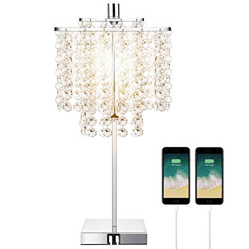 Touch Control Crystal Table Lamp with Dual USB Charging Ports, 3-Way Dimmable Bedside Desk Lamp, Decorative Nightstand Lamp with Elegant Lampshade for Living Room Bedroom Office, T45 LED Bulb Included