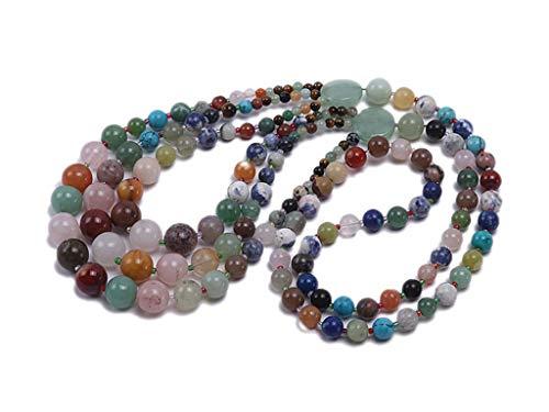 JYX - Collana in agata multicolore da 8 mm, con pietre preziose rotonde di giada e agata e cristalli bohémien, 71,1 cm