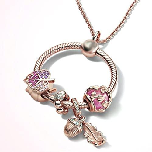 Collana con ciondolo a forma di cuore con ciondolo a forma di serpente con base a rosa, bracciale da donna, fai da te, argento, colore, anello, ciondola, collana, regalo-06, Cina