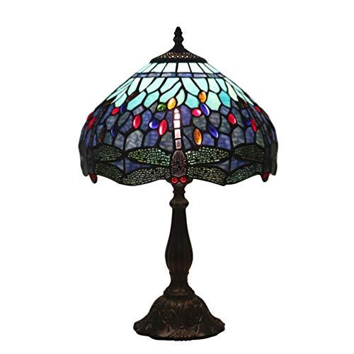 OPW Lámpara De Mesa De Estilo Tiffany Lámparas De Noche De Libélula Azul Púrpura Antigua E27 Lámpara De Escritorio con Pantalla De Vitrales Base De Zinc para Sala De Estar Decoración De Dormitorio