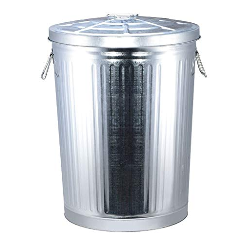 Xiaokeai Outdoor Trash Can Galvanized Steel Trash Can, Light Trash Can, with Lid Round, 7L/75L Can be Used in Garden Road Plaza Hotel, Etc. (Size : L)