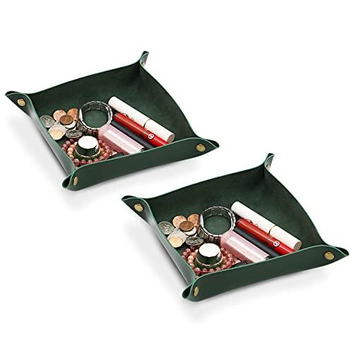 Olrla Pu Leather Valet Trays 2er Pack, Catchall Tray für Key Coin Jewelry Wallet Dekoratives Tablett für Home Office Travel Coffee Bar (Deep Green)