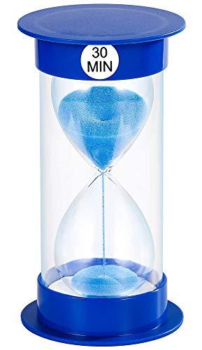 Temporizador de Arena Reloj de Arena de Reloj de Arena de 5 min / 10 Minutos / 15 mins / 20 mins / 40 mins / 45 mins / 60 Minutos para decoración de salón de Clase hogar y Oficina (30min, Azul)