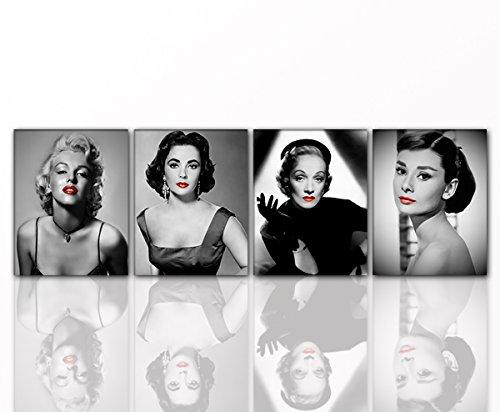 Berger Designs - Modernes Wandbild DIVEN 4X 40x50cm auf Leinwand und Holzkeilrahmen - Monroe Hepburn Dietrich Taylor - Beste Qualität aus Deutschland! (Sparset alle 4 Teile DIVEN 4X 40x50 cm)