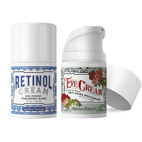 LilyAna Naturals Anti Aging Retinol Cream and Eye Cream Bundle 1.07 oz