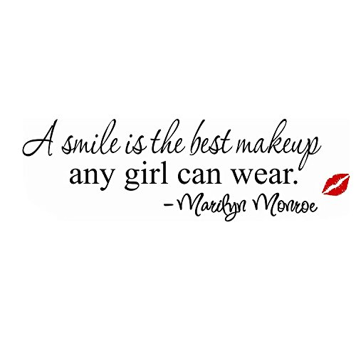 A Smile is The Best Make-up, da Indossare Ogni Monroe-Adesivo da Parete Rimovibile, Decorazione per soggiornoAdesivo4You.Com