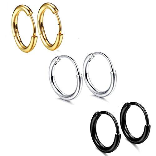 3paia di orecchini a cerchio in acciaio inox per uomo e donna, 18 g, 12mm, per orecchio, piercing al naso, alle labbra, tunnel, trago, helix