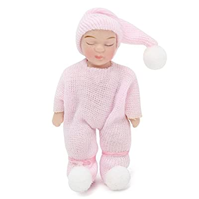 SODIAL 1: 12 Scale DollHouse Miniature People Figures Porcelain Dolls Sleeping Baby Gift