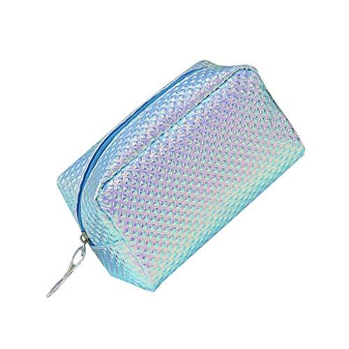 XYZMDJ Sac cosmétique, cosmétique Sac à Carreaux Brillant PU Wash Case Sac étudiant Crayon Waterproof (Color : Blue)