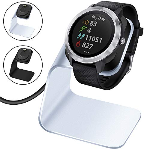 EZCO Charger Dock Compatible with Garmin Vivoactive 3 4 4S/ Vivoactive 3 Music/Venu Sq, Premium Aluminm Charging Cable Stand Base Station USB Date Syn for Fenix 5 5X 6 6X Venu Smartwatch, Silver