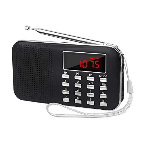 LEFON Mini Digital AM FM Radio Media Speaker MP3 Music Player Support TF Card USB Disk with LED Screen Display and Emergency Flashlight Function (Black-Upgraded Version)