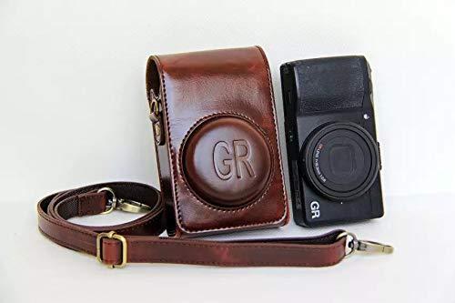RICOH GRIII/GRII/GR ケース ショルダーストラップ付き PUレザー カメラバッグ 軽量 携帯便利 落下防止 標識ロゴ表示 旅行 撮影用品収納 アウトドア撮影 男女兼用 (コーヒー色)